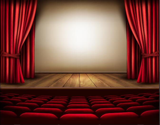 Theater hall red style design vector 01