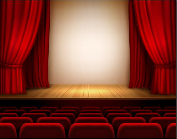 Theater hall red style design vector 02