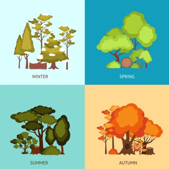 Tree with four seasons vector material 02