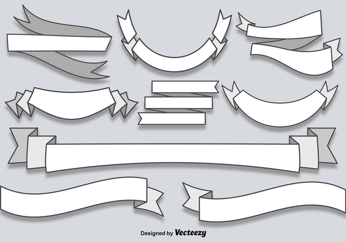 Vector Flat Blank Banners Ribbons