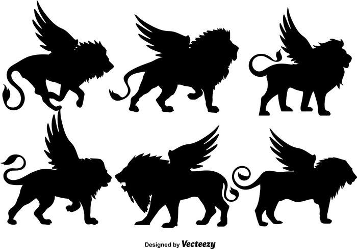 Vector Set Of Black Winged Lions Silhouettes
