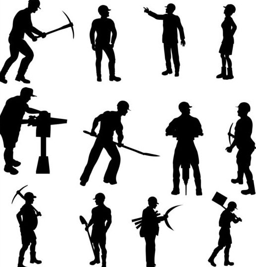 Vector workers silhouettes set 01