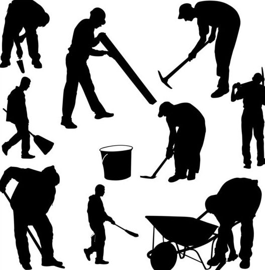 Vector workers silhouettes set 03