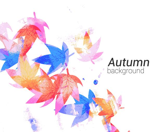 Watercolor autumn leaves background vector