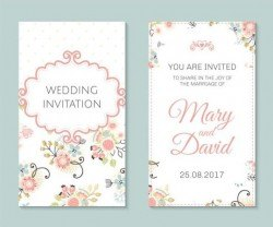 Wedding invitation card template with floral vectors 04