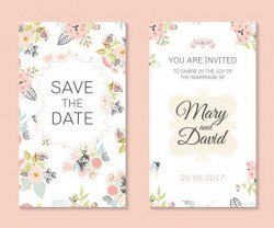 Wedding invitation card template with floral vectors 02