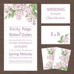 Wedding invitation card with autumn flower vectors