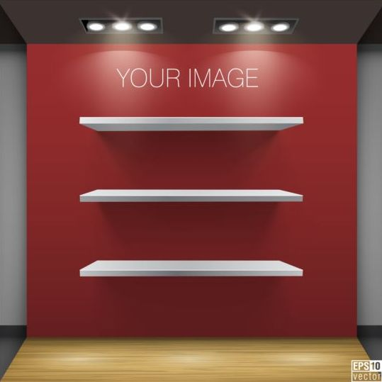 Wooden shelves with red background vector