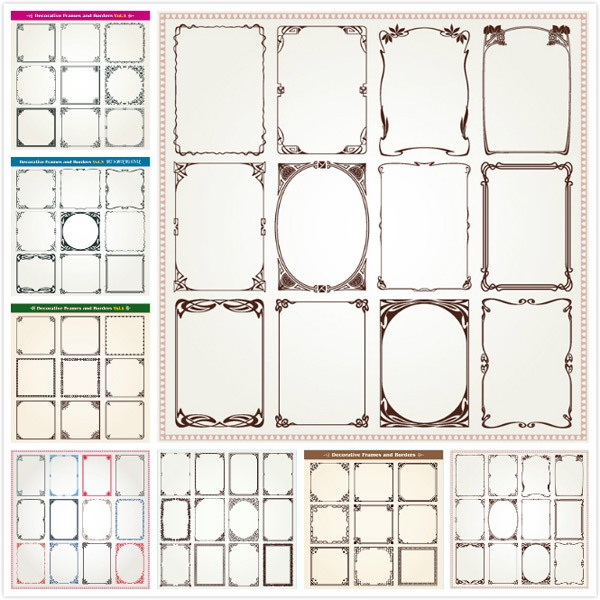 European pattern frame vector