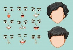 Faceless man and different faces with emotions