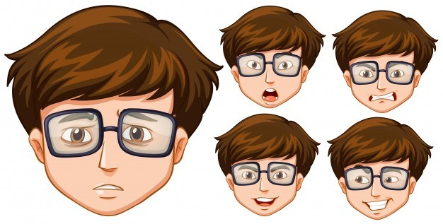 Man with five different facial expressions