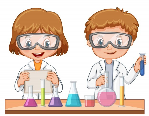 Two students do science experiment