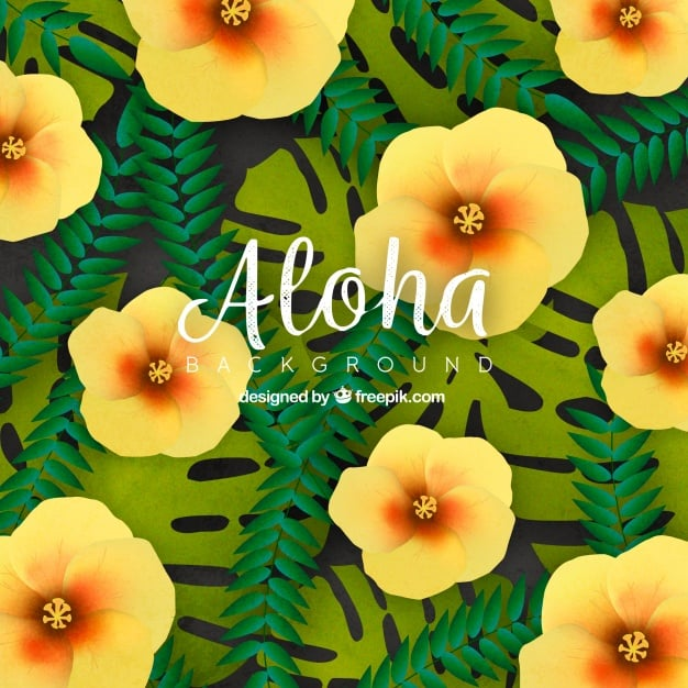 Background of tropical flowers and leaves Vector