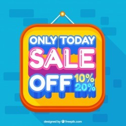 Background with sale poster in flat design