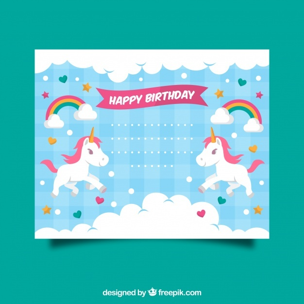 Birthday invitation with a unicorn, clouds and hearts