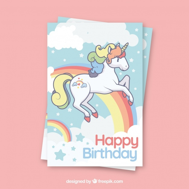 Birthday template with a unicorn