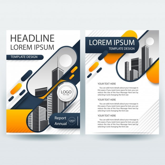 Business brochure template with Orange and Blue Geometric shapes