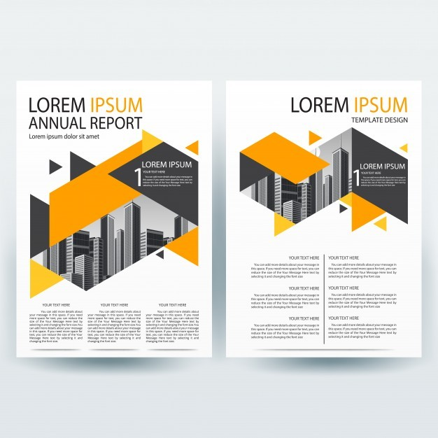 Business brochure template with Orange and Gray Geometric shapes
