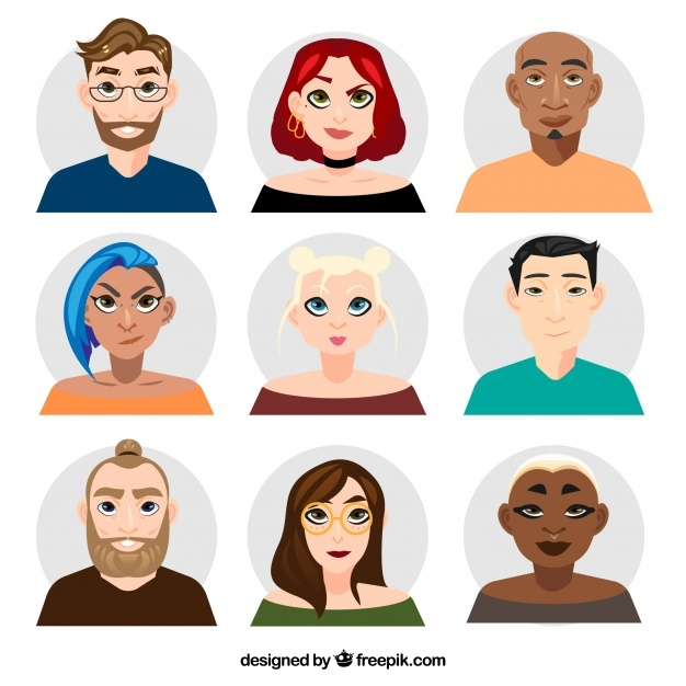 Collection of avatars men and women