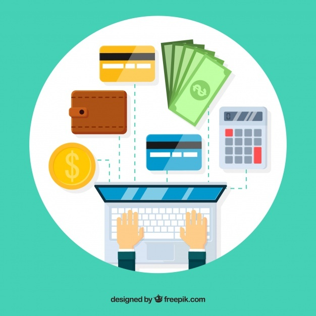 Composition with laptop and payment elements