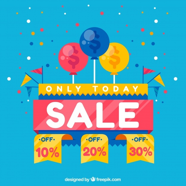Discount background in flat design with confetti