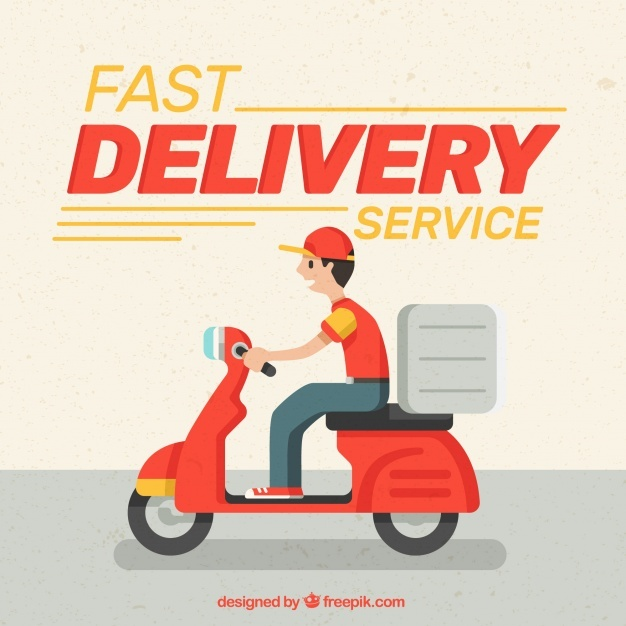 Fast deliveryman with flat design