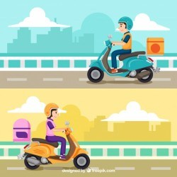 Lovely set of scooter delivery concept