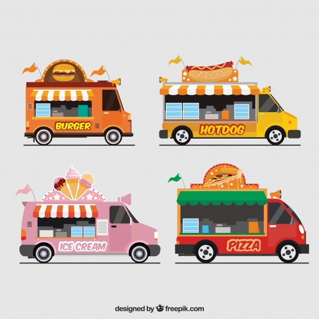Pack of food trucks with awnings