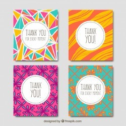 Pack of hand drawn abstract greeting cards