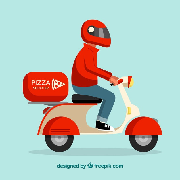 Pizza deliveryman with scooter and helmet