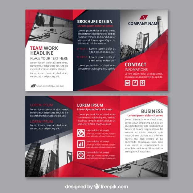 Red abstract shapes corporate triptych template
