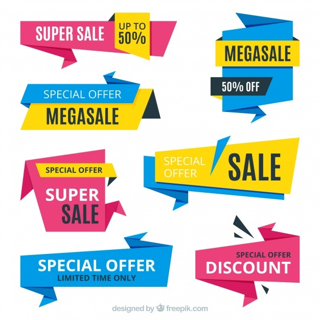 Set of four abstract discount banners