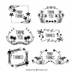 Set of hand drawn floral thank you frames