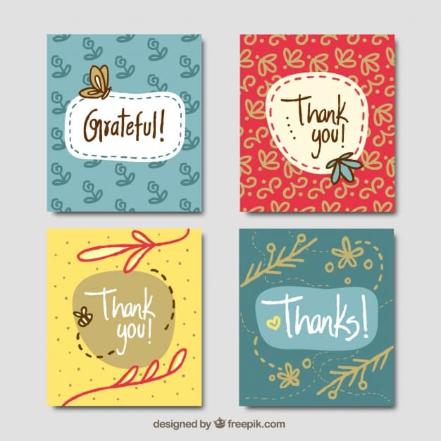 Set of hand drawn vintage thank you cards