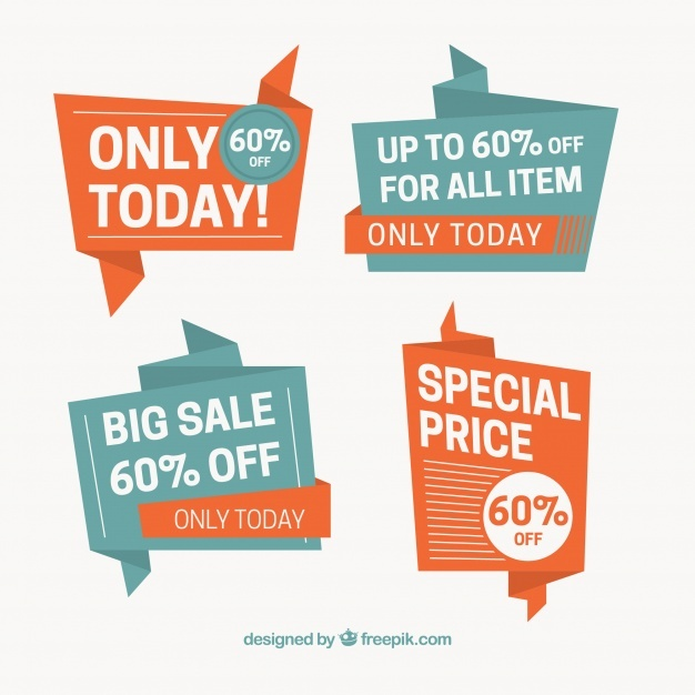 Set of special sale origami banners