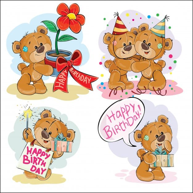 Set of vector clip art illustrations of brown teddy bear wishes you a happy birthday