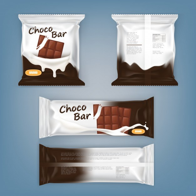 Set of vector illustrations of packing for chocolate bars
