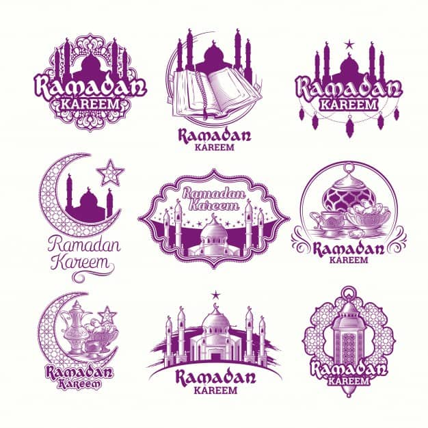 Set vector purple illustrations, sign for Ramadan Kareem with lantern, towers of mosque, crescent