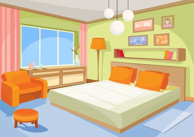 Vector cartoon illustration interior orange-blue bedroom, a living room with a bed, soft chair