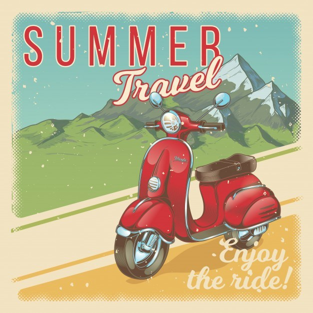Vector illustration, poster with red vintage scooter, moped in grunge style