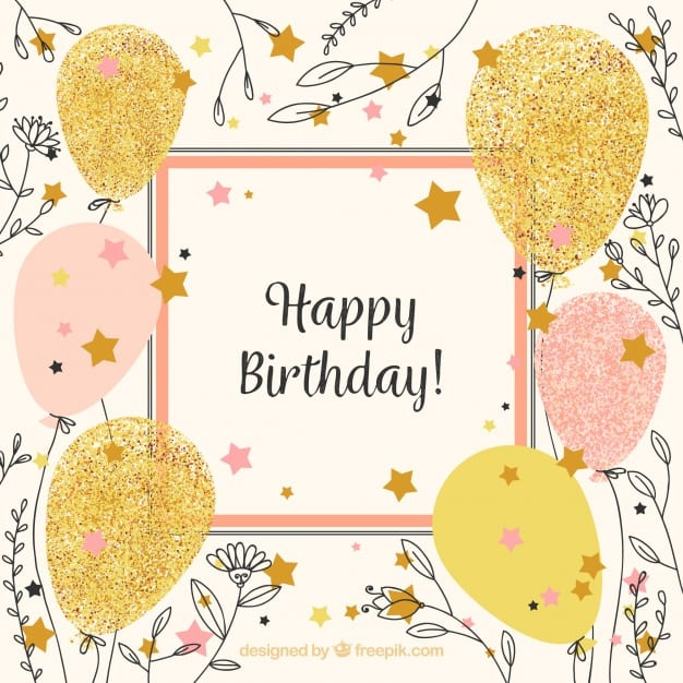 Vintage happy birthday background with balloons and flower sketches