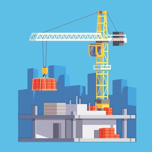 Construction of building house or a skyscraper