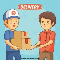 Delivery concept with hand drawn happy men