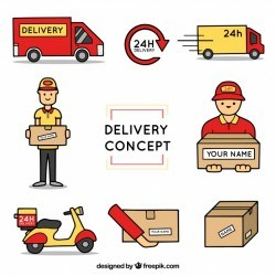 Delivery elements with hand drawn style