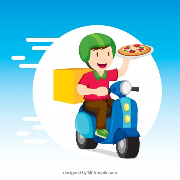 Delivery man with pizza and scooter