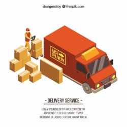 Delivery truck and boxes with isometric style