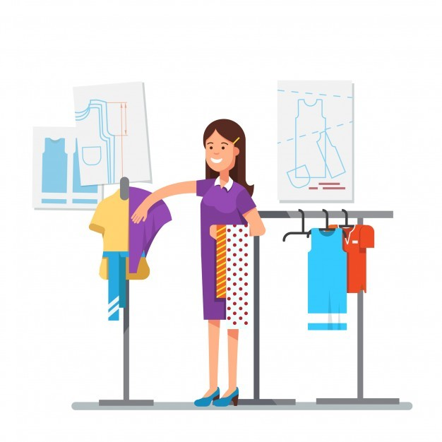 Fashion clothes designer working on dress project