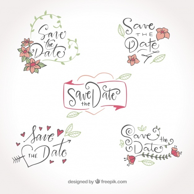 Lovely hand drawn pack of wedding labels