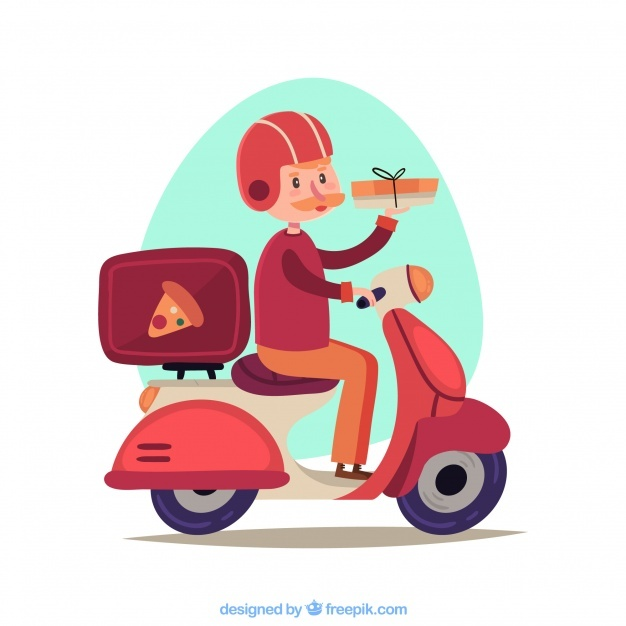 Lovely pizza delivery man on scooter