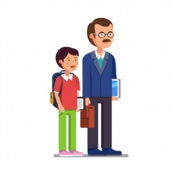School teacher standing with his son or student